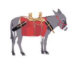donkey wearing a packing harness poster