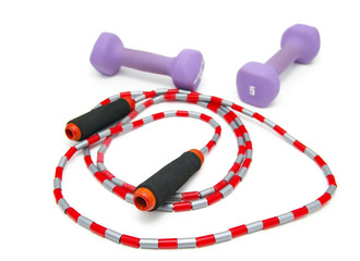 sport jumprope and weights isolated on white