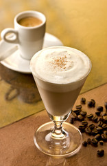 Brandy Alexander cocktail with coffee beans
