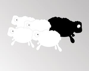 peur, troupeau de moutons, symbolise la peur de l'autre