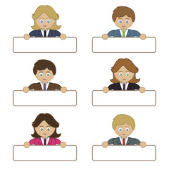 business people holding name tags