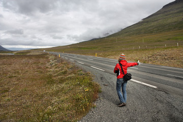 Hitchhiker girl in Iceland