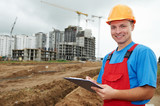 smiling Builder inspector at construction area poster
