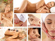 A collage of spa images with young relaxing women