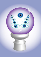 3D, The third eye in glass ball, metaphor, vector