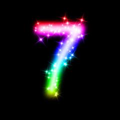 bunte leuchtende Nummer - 7