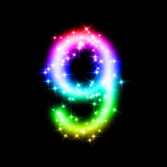 bunte leuchtende Nummer - 9
