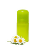 Green jar of a deodorant and flower isolated on a white backgrou poster