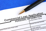 Complete the commercial loan application isolated on blue poster