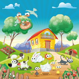 Fototapety Home with Animals. Cartoon and vector illustration.