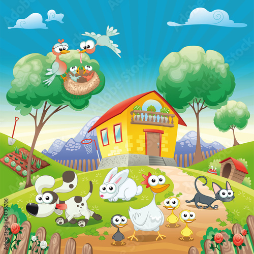 Sticker Home with Animals. Cartoon and vector illustration.