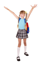 Schoolgirl with backpack hand up.