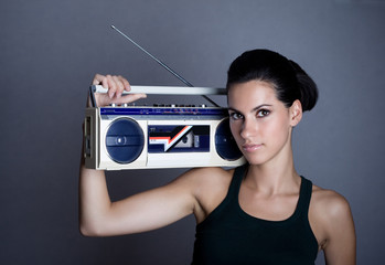 Woman with retro Boom Box