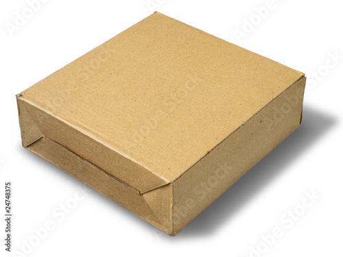 brown paper box on white floor