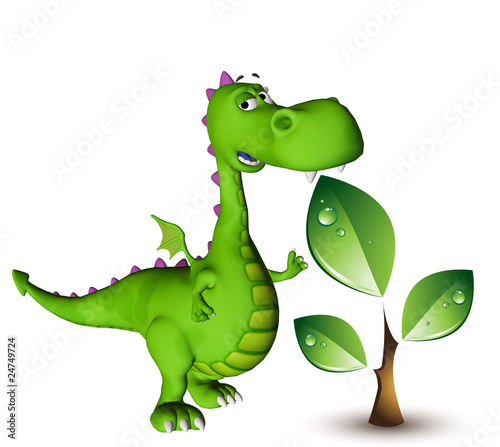 dino baby dragon green plant