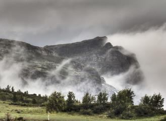 Veslehorn Mountain shrouded