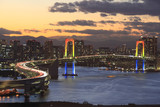 Fototapety View of Tokyo downtown at night with Rainbow Bridge