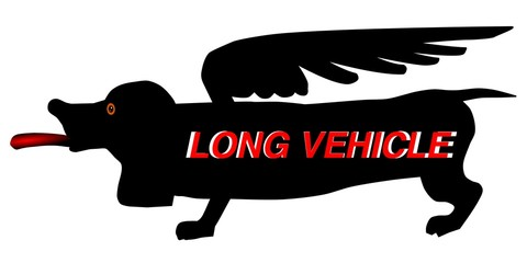 "Sign ""the long vehicle"" in the form of a long dog vector"