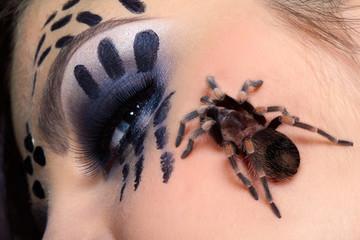 spider Brachypelma smithi on girl's cheek