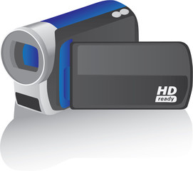 blue vector hd camcorder - illustration