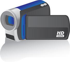 blue vector hd camcorder - illustration