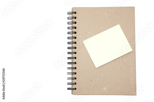 Recycled paper notebook hard cover with yellow reminder