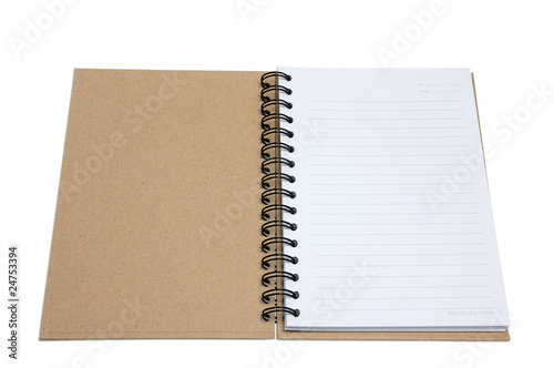 Recycled paper notebook cover open