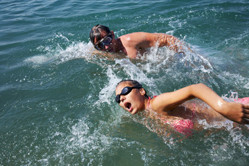 Swimming couple