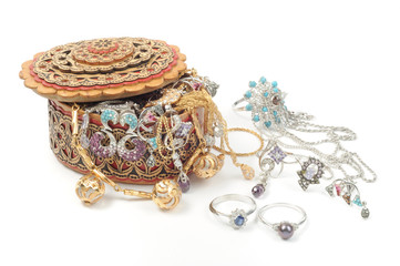 Woman gold  jewelry background