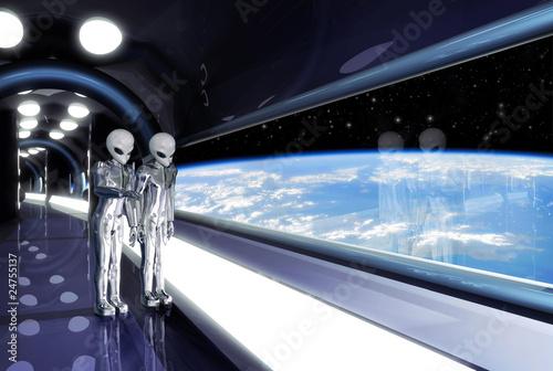 aliens looking down