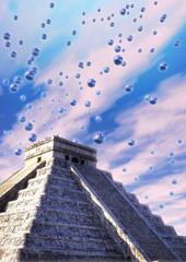 mayan pyramid and ufo