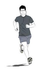 Hombre corriendo escuchando musica