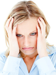Portrait of a frustrated woman against white background