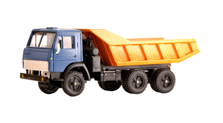 Toy dump truck collection scale model isolated