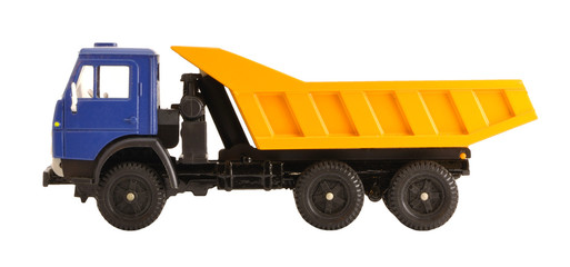 Toy dump truck collection scale model isolated side view