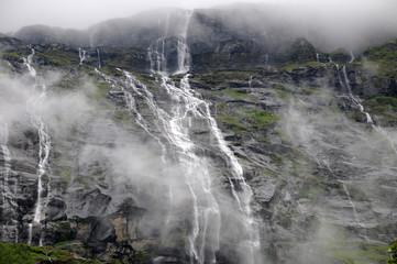 Waterfall above Lovatnet Lake, Norway