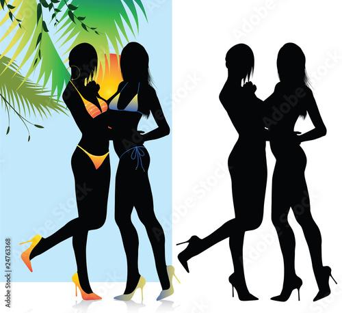 Bikini Girl Silhouette on Beautiful Bikini Girls Silhouette Von Illustrart  Lizenzfreies Foto