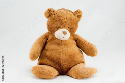 Brown teddy bear isolated on white.