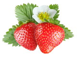Tempting strawberries with leaves and flower.