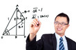 young businessman drawing a Trigonometric functions
