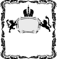 frame with heraldic lions on white