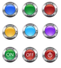 Color glass buttons set