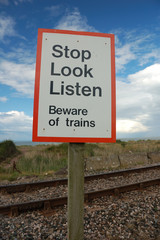 Beware of trains sign