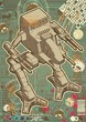 Mech warrior design on hectic technology background.