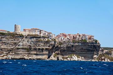 Houses of Bonifacio on Corsica island seen from the sea