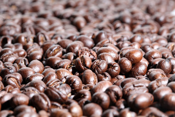 Coffee beans extreme closeup, shallow depth of field