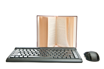 Mouse, keyboard and book