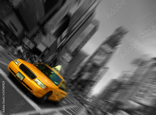 new-york-city-taxi-ruch-skupienia-blur-times-square
