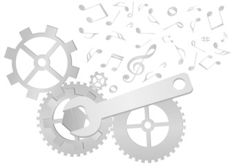 Set of gears and wrench with music notes