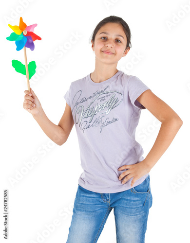 Girl with colored pinwheel